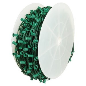 C7 1000' Cordset E12 Sockets on Green Wire with 7.5' Spacing