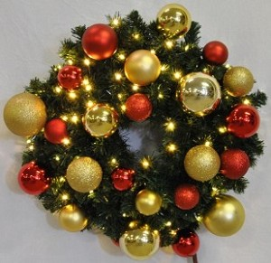 4' Blended Pine Wreath Decorated with The Red and Gold Ornament Collection Pre-Lit Warm White LEDS