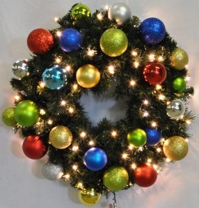 3' Pre-Lit Warm White LEDS Sequoia Wreath Decorated with The Fiesta Ornament Collection Pre-Lit Warm White LEDS