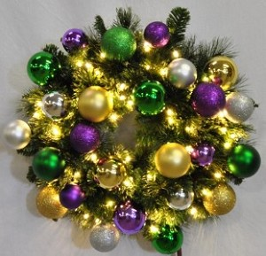 WL-GWSQ-04-MARDI-LWW -  4' Pre-Lit Warm White LED Sequoia Wreath decorated with The Mardi Gras Ornament Collection