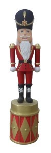 WL-NUT-08-DRM- 8' Polyresin Nutcracker Standing on Red and Gold Drum
