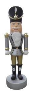 WL-NUT-12-GO - 12 ft Tall Polyresin Nutcracker Gold Silver and White