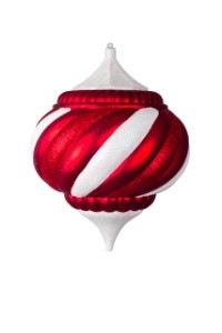 WL-ONION-150-CDY - 150MM Onion Ornament Candy Ornament Collection Red and White