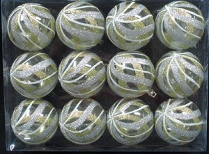 Clear Ball Ornament with Gold, Silver and White swirls Design 12pk