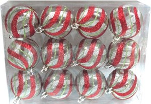 Clear Ball Ornament with Red, Silver and Gold swirl design 12pk