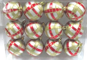 12pk Silver Ball Ornament with Red and Gold Plaid Design