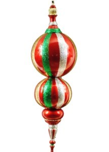 "31"" Green, Red, Gold and Silver Oversized Shatterproof Finial"