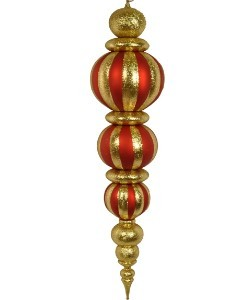 "WL-ORN-47-RE/GO -  47"" Oversized Shatterproof Plastic Red and Gold Finial"
