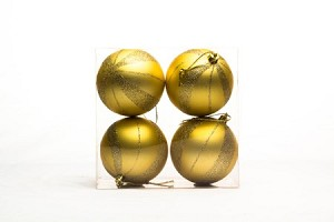 Gold  Ball Ornament with Spiral Design 4 pack