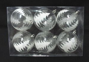 Clear Ball Ornament with Silver Glitter Tree 6pk