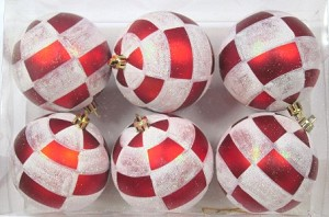 WL-ORN-6PK-PLD - Red and White Ball Ornament with Plaid Design 6 pack