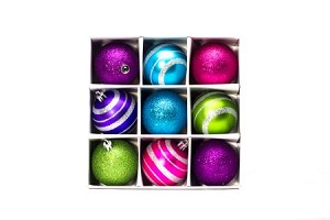 WL-ORN-9PK-ALGPP- 9 PK 60MM ORNAMENT SET Aqua Lime Green Pink and Purple