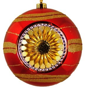 "WL-ORN-BALL2-RE/GO - 8"" Gold and Red decorated plastic deep dish reflector hanging ball ornament"