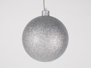 WL-ORN-BLKG-120-SLV-W:  120mm Glitter Silver ball ornament with wire