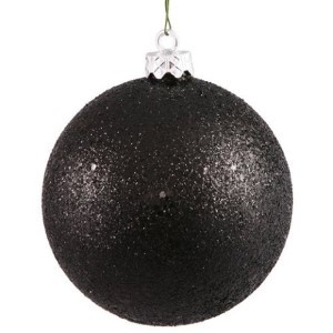 WL-ORN-BLKG-70-BK-W - 70mm Glitter black ball ornament with wire