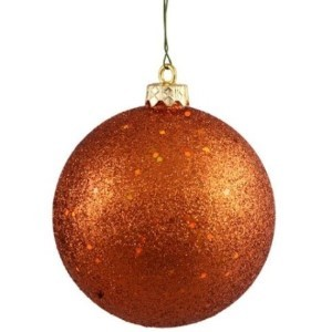 "70mm 2.75"" Copper Glitter Ball Ornament with Wire"