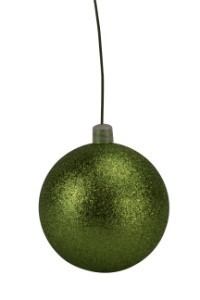 WL-ORN-BLKG-70-LG-W - 70mm Glitter Lime Green ball ornament with wire