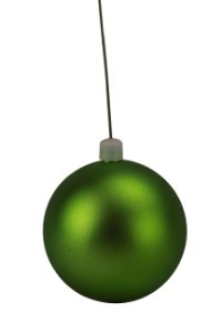 "100mm 4"" Matte Lime Green Ball Ornament with Wire, UV Coated"
