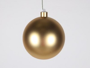 WL-ORN-BLKM-120-GO-UV - 120MM Matte Gold ball ornament with wire and UV Coating