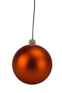 70mm Matte Orange Ball Ornament with Wire, UV Coated