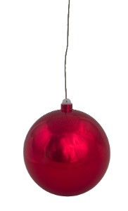 "120mm 5"" Shiny Red ball ornament with wire and UV coated"