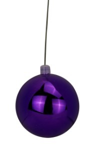 WL-ORN-BLKS-60-PU-UV -60mm Shiny purple ball ornament with wire and UV Coating