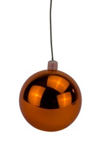 WL-ORN-BLKS-70-OR-UV  - 70mm Shiny Orange ball ornament with wire  and UV Coating