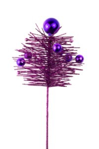 16' Purple Christmas Glittered PE Pine Spray with Ball