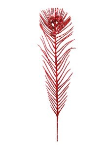 "WL-PCKA12-TF-RE - 12"" Red Peacock Feather Pick With Red Glitter"