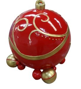 "WL-POLYORN-02-RG - 24"" Polyresin Single Ornament Red and Gold"
