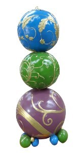 6' Purple, Green, Blue and Gold Stacked Ornaments