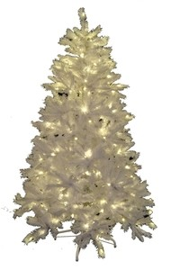6' Classic White Pre-Lit Tree with Warm White Lights and a Metal Stand