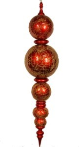 "67.5"" Red and Gold Oversized Shatterproof Finial"