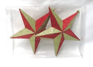 "7.8"" Star with Red and Gold Glitter"