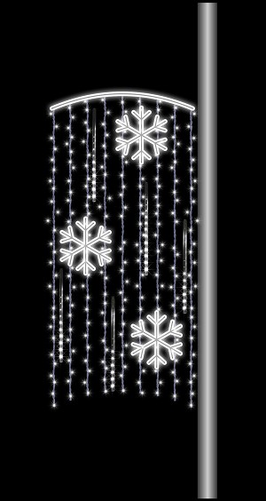 6' POLE MOUNT CURTAIN WITH SNOWFLAKES