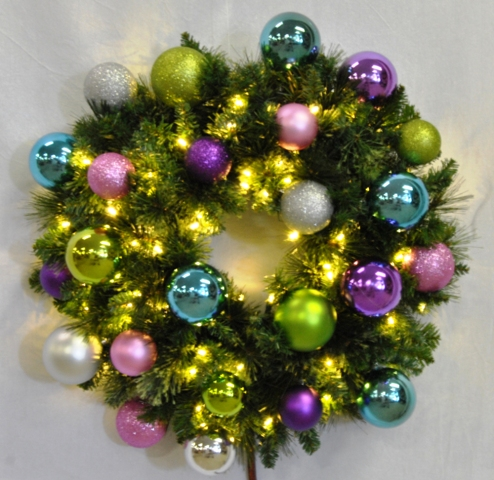 4' Pre-Lit Warm White LED Sequoia Wreath Decorated with the Victorian Ornament Collection