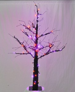 LED 4.5' Halloween Tree with Purple and Orange Lights