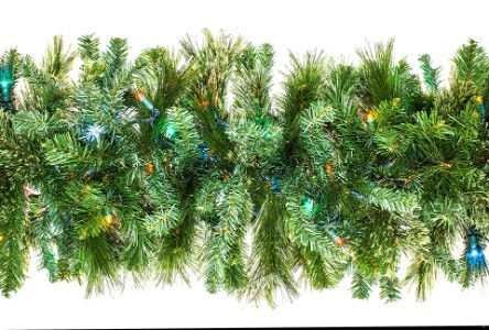 9' Blended Pine Garland Pre-Lit with Multi Colored LEDs