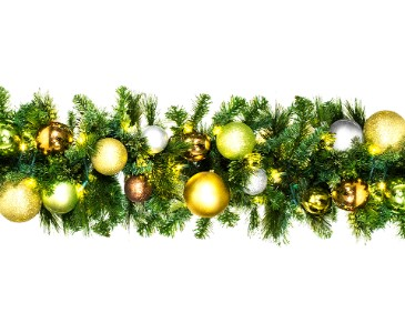 9' Pre-Lit Warm White LED  Blended Pine Garland decorated with the Woodland Ornament Collection