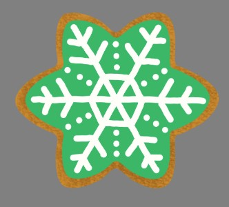 3'  Green Gingerbread Snowflake Iced Cookie