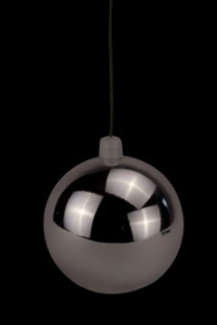 70mm Shiny Silver Ball Ornament with Wire and UV Coating