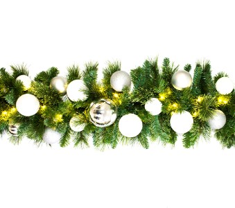 9' Blended Pine Garland Decorated with The Iceland Ornament Collection Pre-Lit with Warm White LEDs