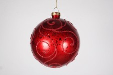 120MM Red Ornament Ball with Red Glitter Design