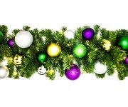 9' Blended Pine Garland Decorated with The Mardi Gras Ornament Collection Pre-Lit with Warm White LEDs