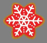 3'  Red Gingerbread Snowflake Iced Cookie
