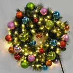 4' Pre-Lit Warm White LED Blended Pine Wreath Decorated with the Tropical Ornament Collection