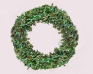 6' Blended Pine Wreath Pre-Lit with Multi Colored LEDS