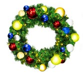 2' Sequoia Pine Wreath Decorated with The Fiesta Ornament Collection Pre-Lit Warm White LEDS