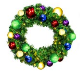 2' Sequoia Wreath Decorated with The Royal Ornament Collection Pre-Lit Warm White LEDS