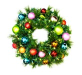 2' Pre-Lit Warm White LED Sequoia Wreath Decorated with the Tropical Ornament Collection